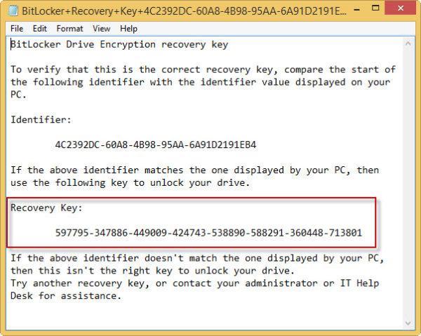 Ключ восстановления Bitlocker