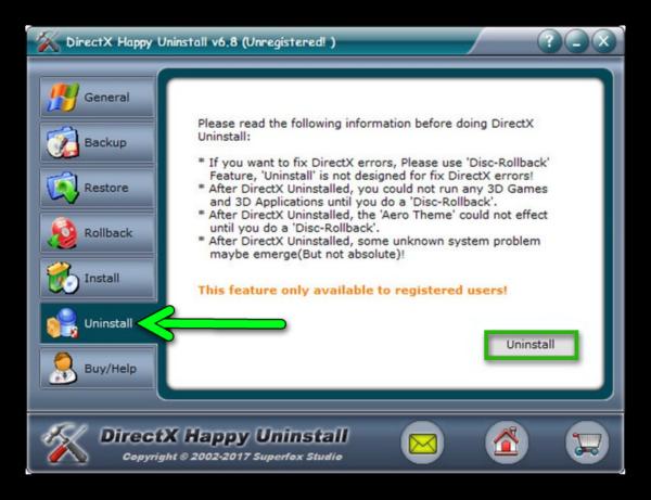 Нажимаем на «Uninstall» и ждем удаления DirectX