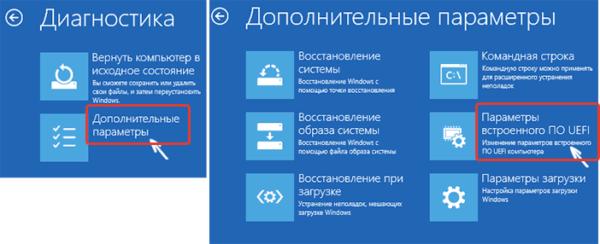 Открываем раздел «Дополнительные параметры», кликаем на «Параметры встроенного ПО UEFI»