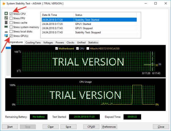 Отмечаем галочками пункты «Stress CPU» и «Stress GPU(s)»