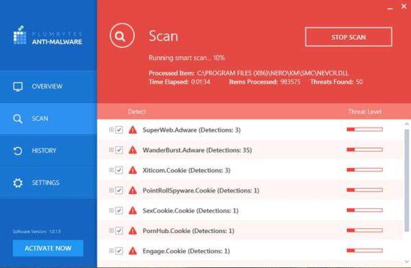 Plumbytes Anti-Malware самостоятельно обновит базу сигнатур и начнет умное сканирование системы