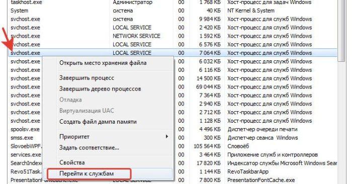 Щелкаем правой кнопкой мыши на процесс svchost.exe с высоким уровнем использования и выбираем «Перейти к службам»