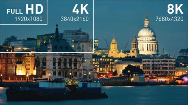 Сравнение качества разрешений экрана Full HD, 4K и 8K