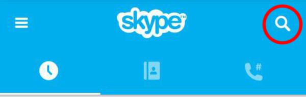 Строка поиска Скайп на мобильном устройстве