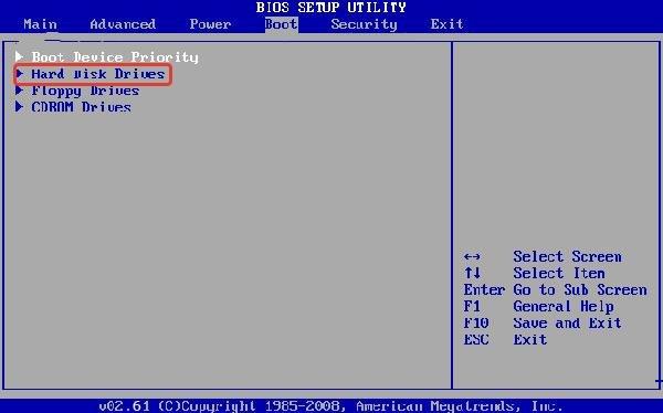 В Биос заходим во вкладку «Boot», затем открываем пункт «Hard Disk Drive»