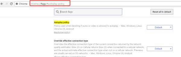 В адресную строку браузера вставляем ссылку «chromeflags#autoplay-policy»