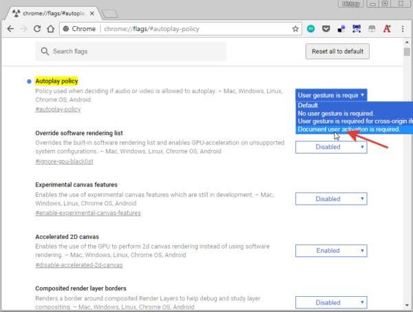 В списке выбираем опцию «Document user activation is required», перезапускаем браузер
