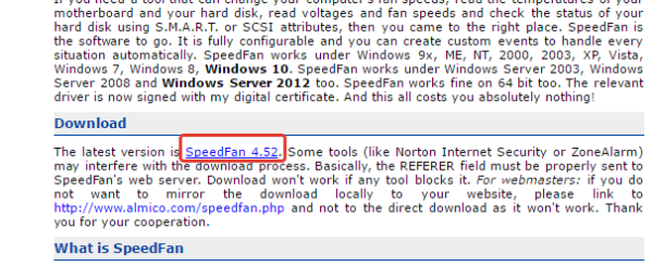 В тексте нажимаем на ссылку «SpeedFan», тем самым скачиваем последнюю версию программы