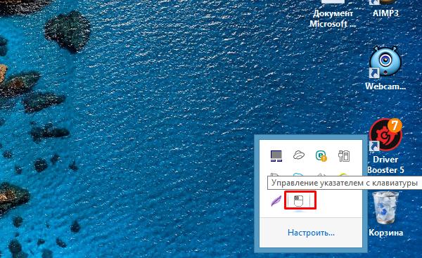В трее появится значок мыши, которой можно управлять с помощью кнопок на цифровой клавиатуре