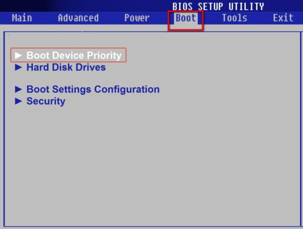 Входим в подменю «Boot Device Priority»