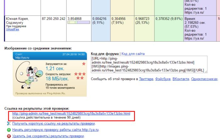 Внизу таблицы результата можно найти ссылку на результат проверки