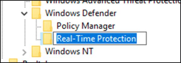 Вписываем название папки «Real-Time Protection»