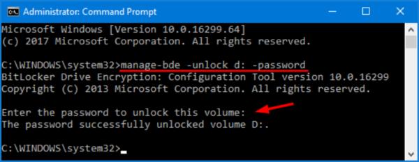 Вводим команду «manage-bde -unlock d: -password», нажимаем «Enter»