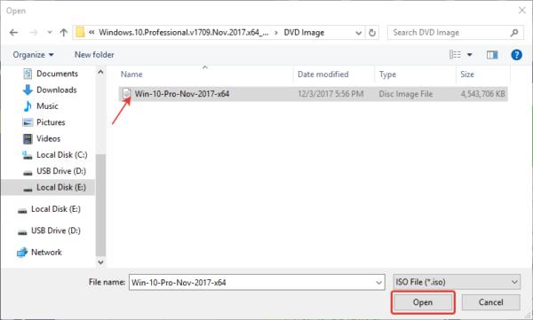 Выбираем файл образа операционной системы, нажимаем «Open» или «Открыть»