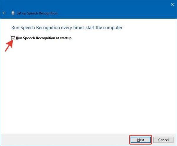 Выбираем опцию «Автоматического запуска функции распознавания речи» или «Run Speech Recognition at startup»