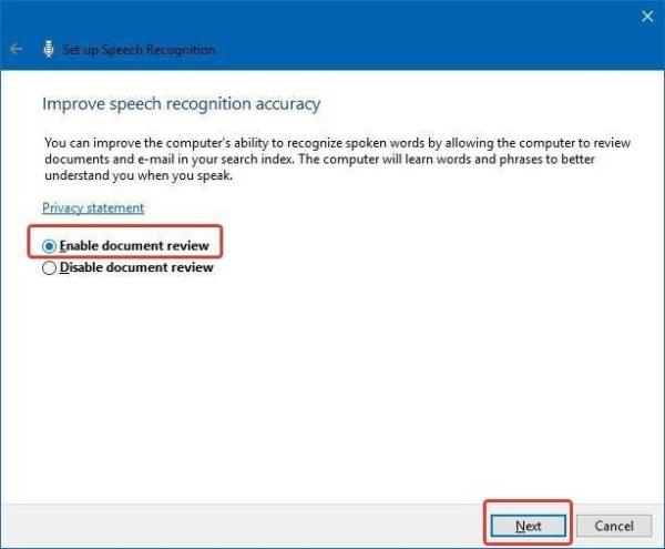 Выбираем параметр «Включить просмотр документов» или «Enable document review», нажимаем «Next»