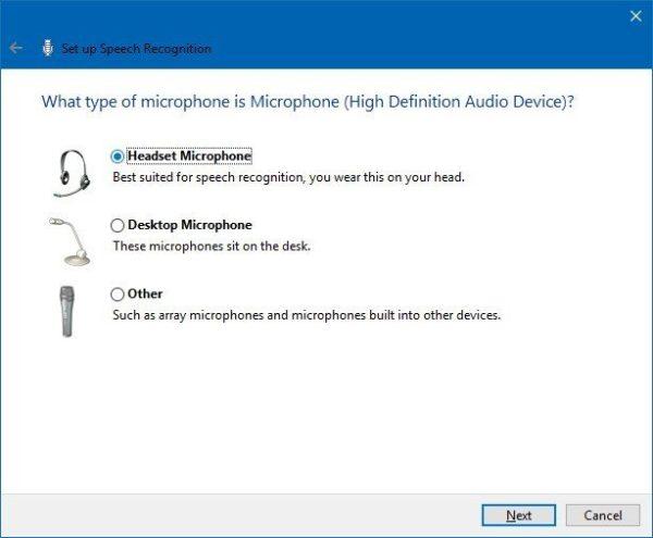 Выбираем тип микрофона, который будем использовать, нажимаем «Далее» или «Next»