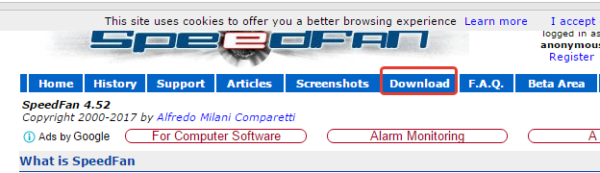 Заходим на сайт разработчика SpeedFan, нажимаем кнопку «Download»