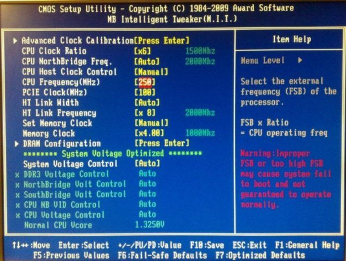 Интерфейс BIOS Setup