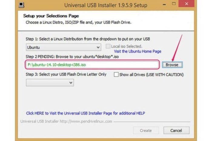 Нажимаем на кнопку «Browse», выбираем установочный файл Ubuntu