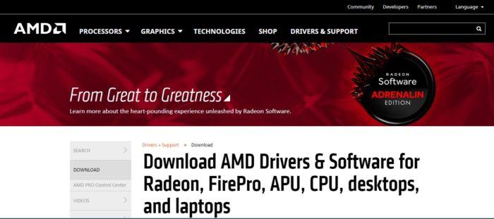 Переходим на официальный сайт разработчика AMD