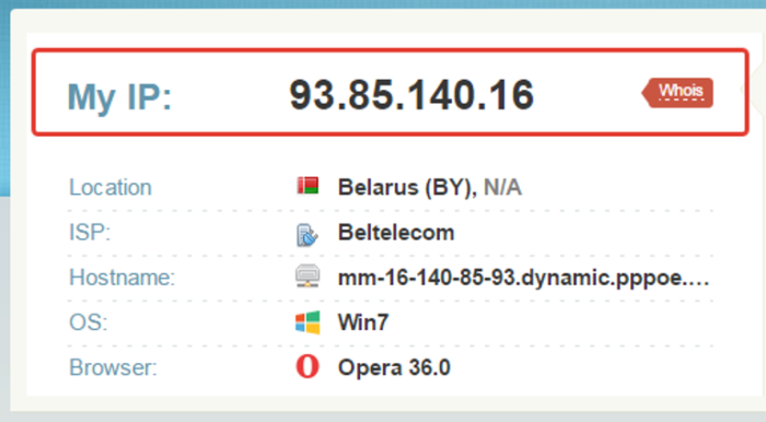 Переходим на сайт whoer.net, в поле «My IP» видим свой общедоступный IP-адрес