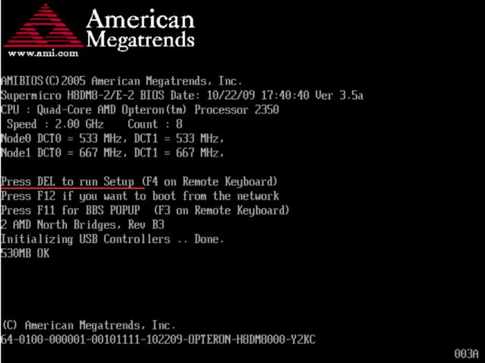 При загрузке системы можно увидеть клавиши входа в БИОС
