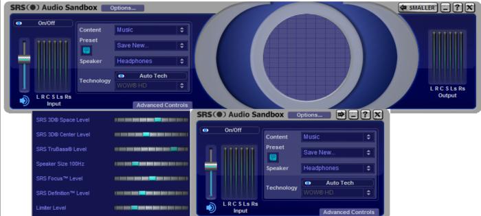 Программа SRS Audio Sandbox