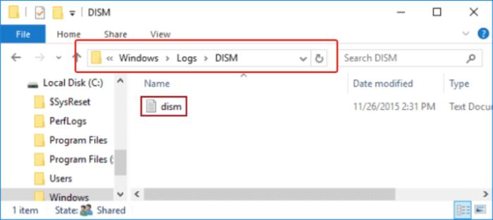 Проверяем файл, перейдя по указанному пути «C:»-«Windows»-«Logs»-«DISM»-«DISM.log», открываем двойным щелчком мыши