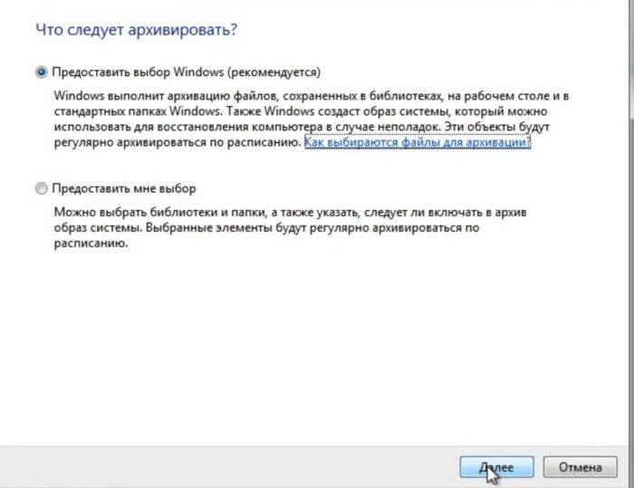 Щелкаем на пункт «Предоставить выбор Windows», нажимаем «Далее»