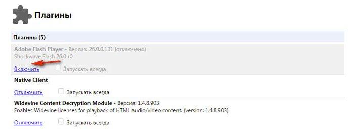 В графе Adobe Flash Player нажимаем «Включить»