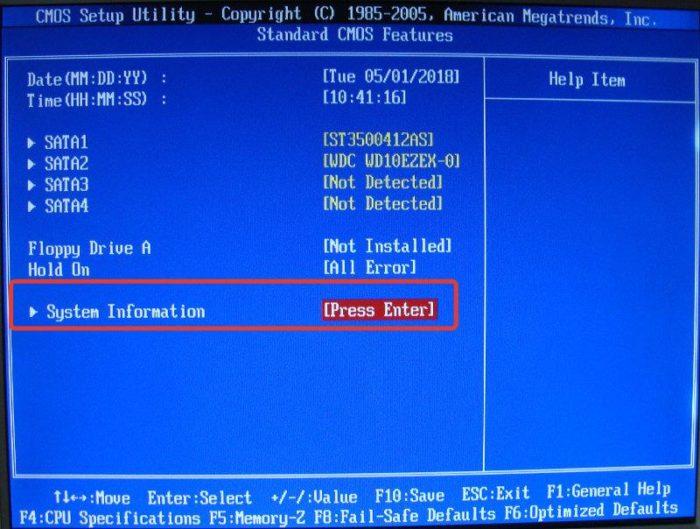 Выбираем пункт «System Information», нажимаем «Enter»