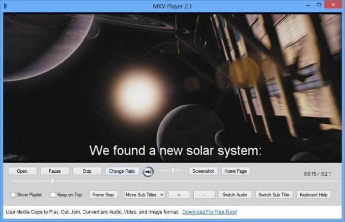 Файл MKV открытый с помощью видео-плеера