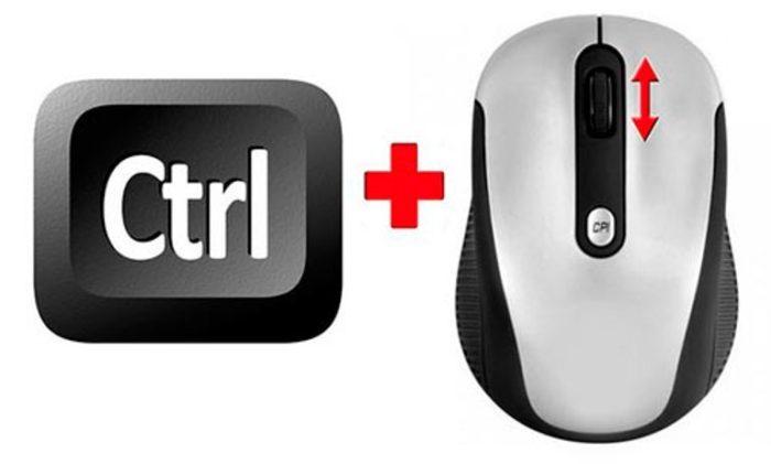 Нажатием клавиши «Ctrl» и прокручивая колесико мышки, увеличиваем или же уменьшаем изображение