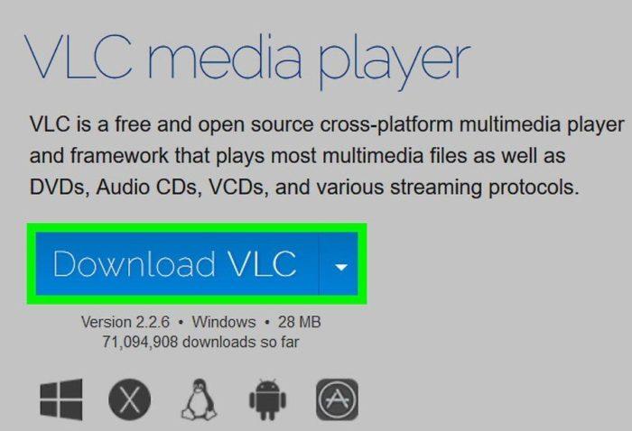 Нажимаем синюю кнопку в центре страницы «Загрузить VLC»