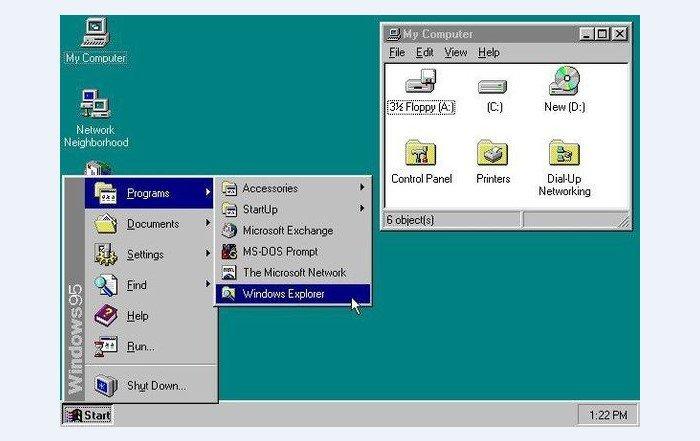 Окно с операционной системой Windows 95