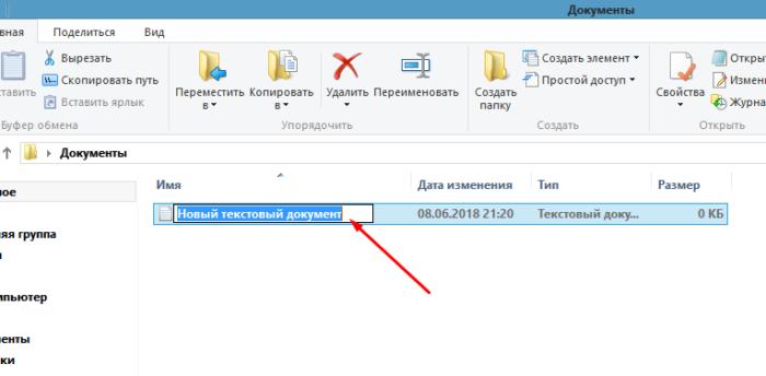При создании нового документа можно сразу же поменять его название