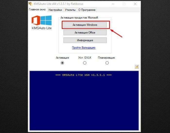 Проверяем галочку на пункте «Активация» и щелкаем по кнопке «Активация Windows»