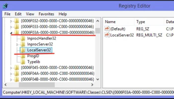Раскрываем двойным левым кликом раздел «0006F03A-0000–0000-C000–000000000046», затем папку «LocalServer32»