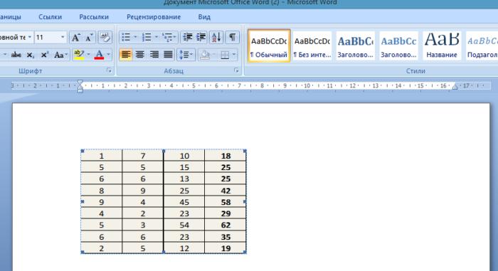 Таблица в документе Ворд, связанная с таблицей в Эксель