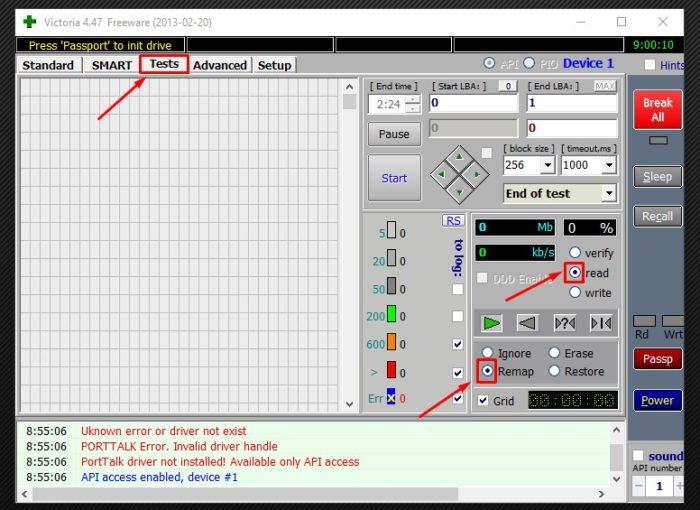 В закладке «Tests» отмечаем пункты «Remap», «read» и нажимаем кнопку «Start»