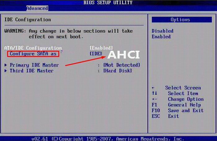 Выбираем «Configure SATA as» и придаём значение «AHCI»