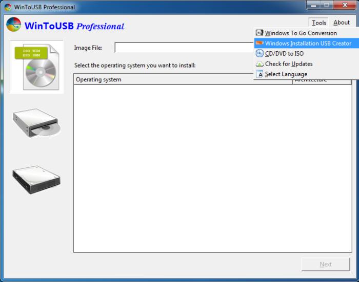 Выбираем в выпадающем меню «Windows Installation USB Creator»