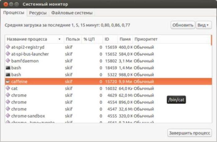 Для вызова утилиты «Системный монитор» нажимаем клавиши «Ctrl+Alt+Delete»
