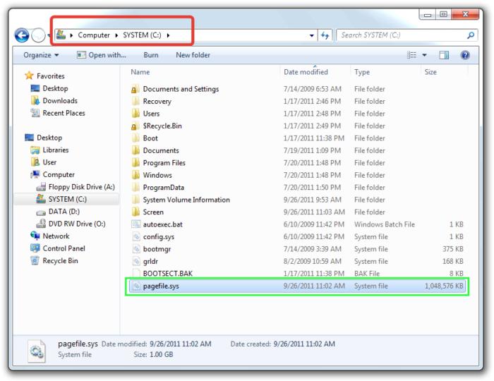 Файл «pagefile.sys» по умолчанию находится на системном диске «С:», если пользователь не менял настройки системы
