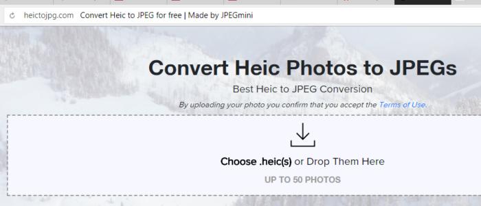 Интерфейс онлайн-сервиса heictojpg.com
