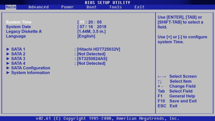 Экран настройки параметров BIOS