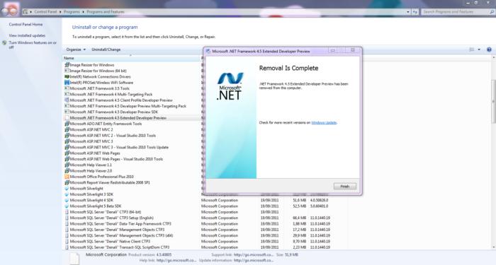 Microsoft .NET Framework встроенная программа Windows, которая нужна для работы других программ написанных на ее платформе