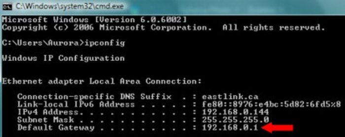 Набираем «ipconfig» и нажимаем «Enter», в поле «Default Gateway» («Основной шлюз») находится IP сети