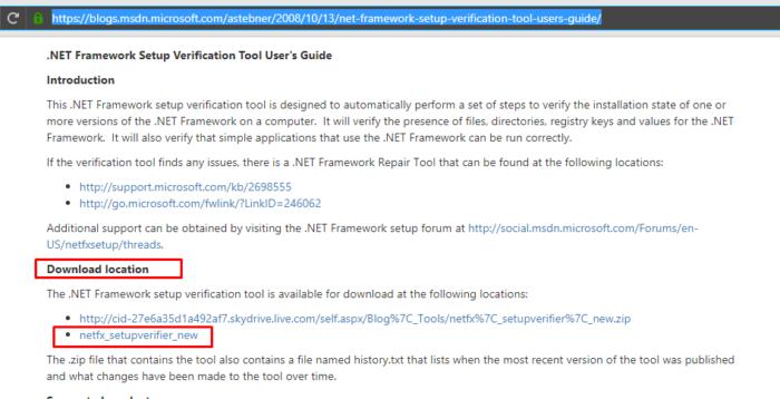 Находим название «Download location», щелкаем по второй ссылке «netfx_setupverifier_new»